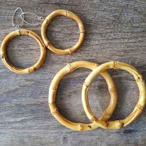 Jewelry - Bamboo bracelet and earrings